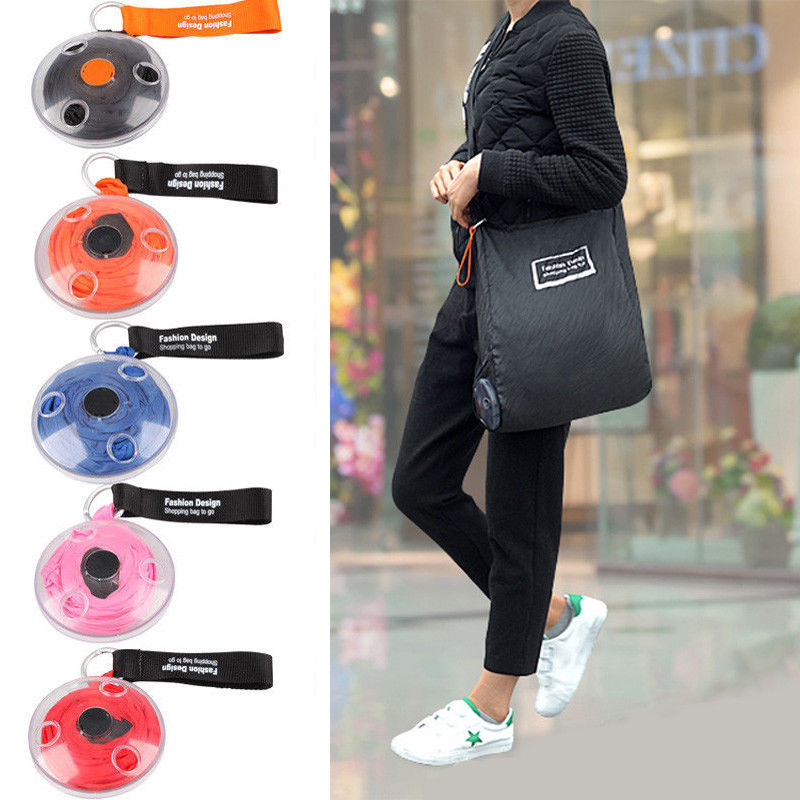 Portable Tote In Pouch Reusable Folding Eco Shopper Shopping Shoudler Bags Organizer With Carabiner Shopping Bag