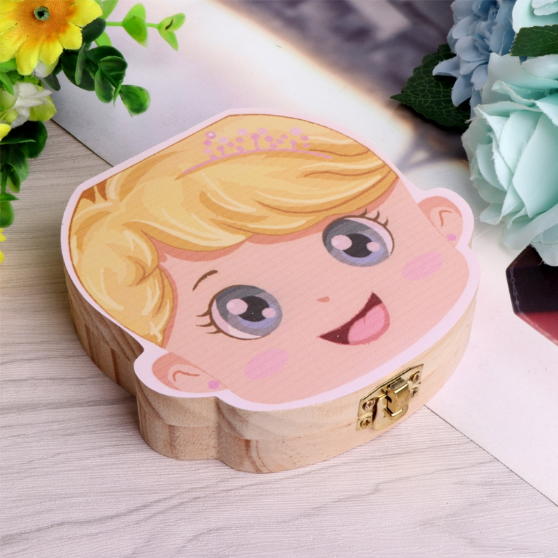 New Tooth Box Organizer Kids Baby Save Milk Teeth Wood Storage Box For Boy Girl Gift