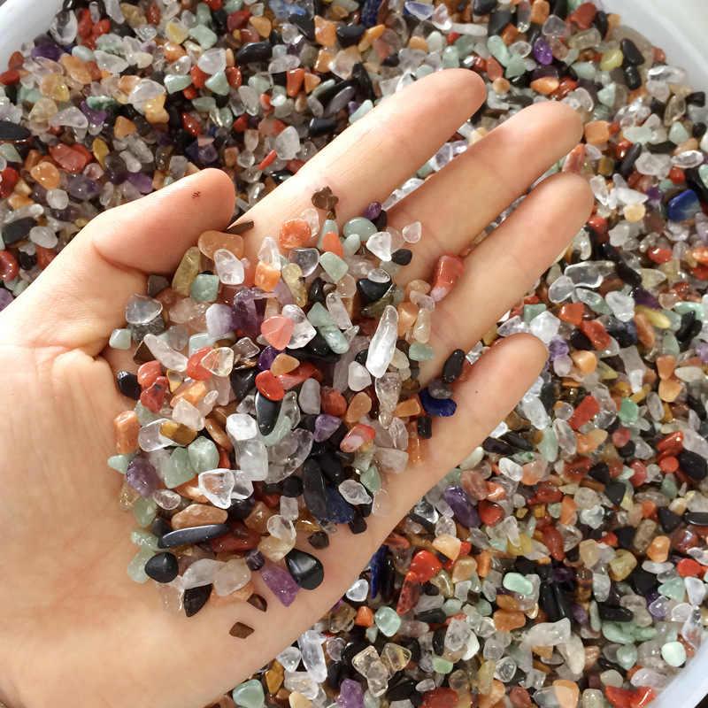 500 г маленький натуральный смешанный цвет чипы гравий камень, кристалл, кварц образец минерала Аквариум Садовый цветочный горшок украшение из камня