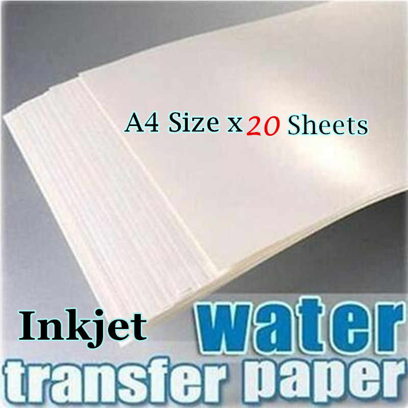 (20 แผ่น/Lot) a4 น้ำหมึกรูปลอกขนาด Transfer กระดาษพื้นหลังสีขาว Transfer กระดาษ Inkjet Waterslide Decal กระดาษ
