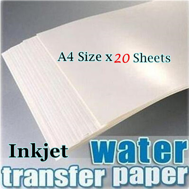 (20枚/ロット) a4サイズインクジェットウォータースライドデカール転写紙白背景転写紙ウォータースライダーデカールprintingpaper