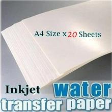 (20 blätter/Lot) a4 Größe Inkjet Wasser Rutsche Aufkleber Transfer Papier Weiß Hintergrund Transfer Papier Waterslide Aufkleber PrintingPaper