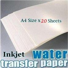 (20 hojas/lote) papel de transferencia de calcomanía deslizante de agua de inyección de tinta tamaño A4 papel de transferencia de fondo blanco papel de impresión de calcomanía de deslizamiento de agua