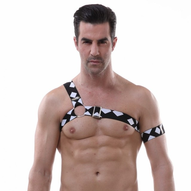 Sexy Body Harness One shoulder Chest belt Lingerie Men Elastic Straps  Bondage Costumes Performance Costume gay