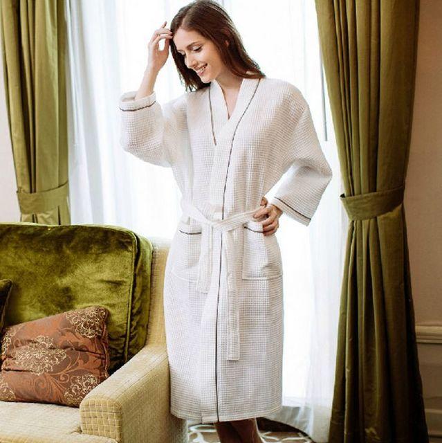Unisex Robe De Cetim mulheres roupão das mulheres sólidos Full Color Sleeve Waffle algodão sono salão Robes roupões De Cetim Robe