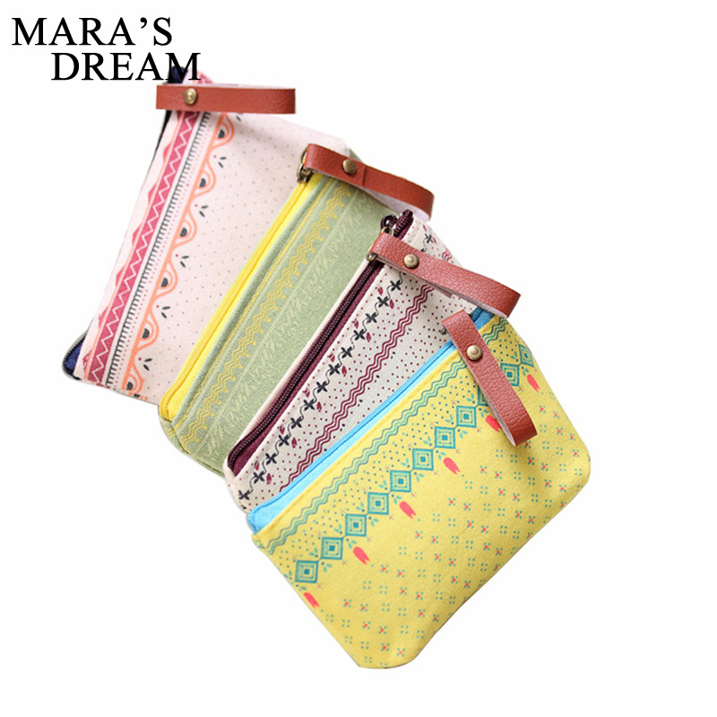 Mars's Dream Womens Coin Bag Canvas Zipper Printed Strip Floral Small Change Coin Purse Female Key Card Pouch Money Coin Holder
