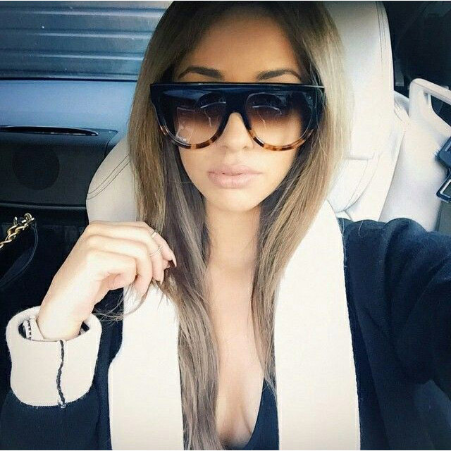 8e06d4141a7c5 Mulheres marca De Grife óculos de Sol Óculos de Sol Flat Top Escudo Senhora  Feminino Estrela Tons Oversize Moda Celebridade Shades em Óculos de sol de  ...