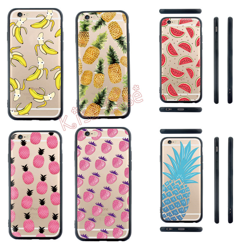 For Apple iPhone5 5s 7 Plus 6 6sPlus Case Watermelon Banana Pineapple Fruits Pattern Phone Case Clear TPU Acrylic Silicone Coque