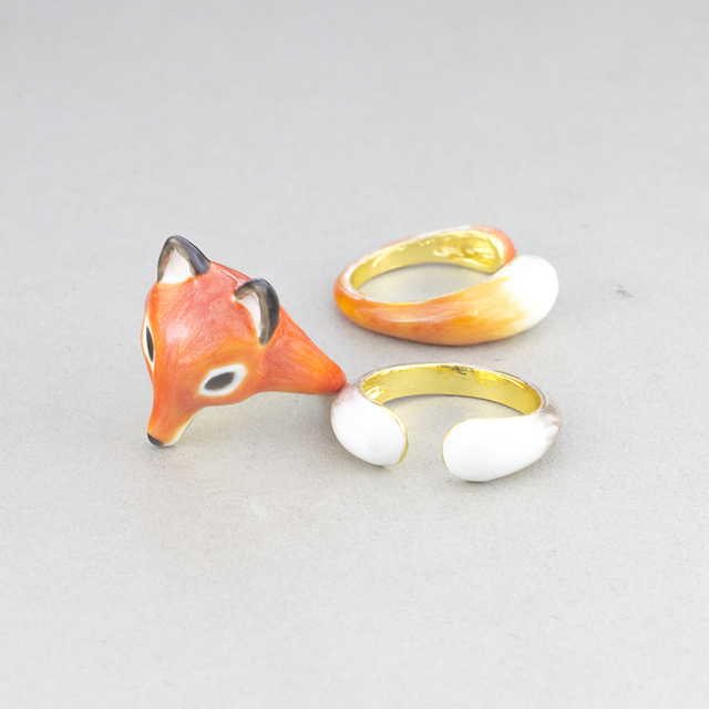 3pcs Trendy Fox Ring Gold Plated Fashion Animal Jewelry