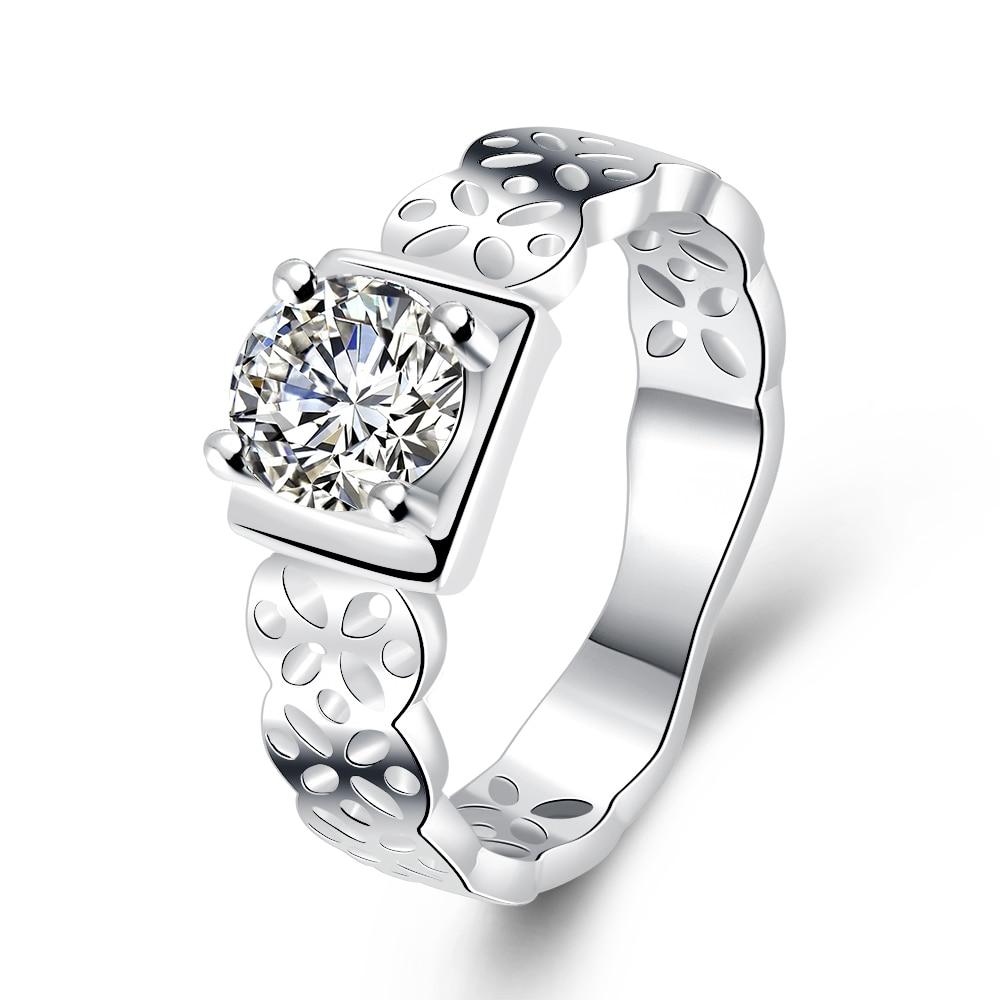 Noble Elegant women silver Wedding ring Jewelry Fashion Lady Crystal stone fashion Charm classic Jewelry Valentines gift R717