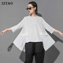 [XITAO] 2019 New Europe Casual Loose Short Sleeve Slim Fit Tee Patchwork O-neck Fashion Women Summer Pullover T-shirt ZQ1811