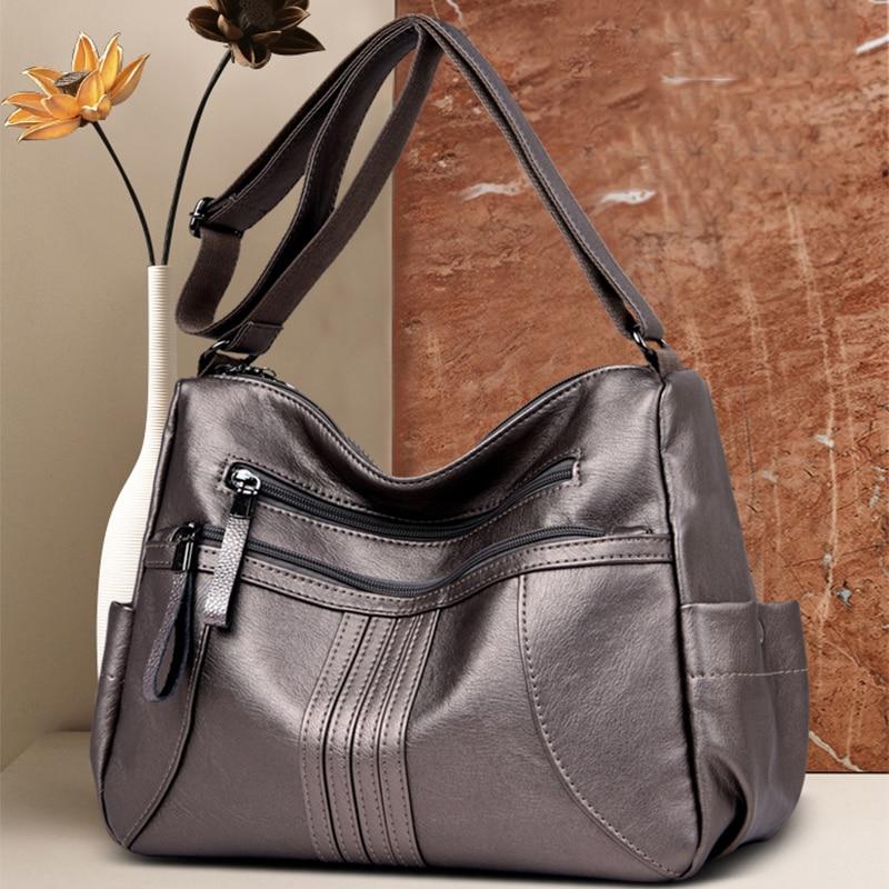 O SHI CAR Ladies PU Leather Shoulder Bag Minimalist High Capacity Messenger Bag With Long Shoulder Strap Comfortable and Elegant