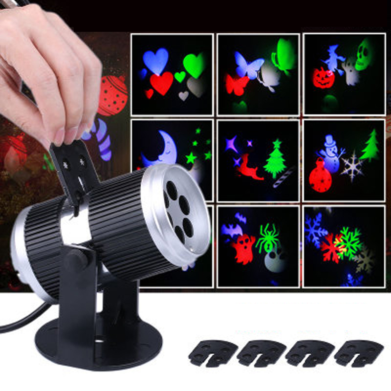 12 Films LED Snowflake Projection Lamp Halloween Christmas Film Projection Light Pattern ...