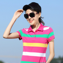 2017 New Summer Women Tops Turn-Down Collar polo Shirt Plus Size Short Sleeve Cotton Striped Polo shirt Ladies Big Size Clothes
