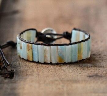 Bohoyogastore-bijoux-lithothérapie-Bracelet en cuir Naturel de la positivité