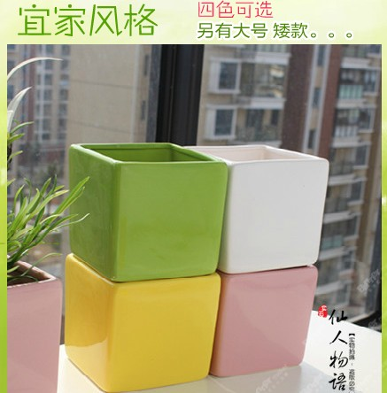 Home Garden Ceramic Flower Pot Planters Extra Large Size Rectangle Square Vase Jardiniere Free Shipping