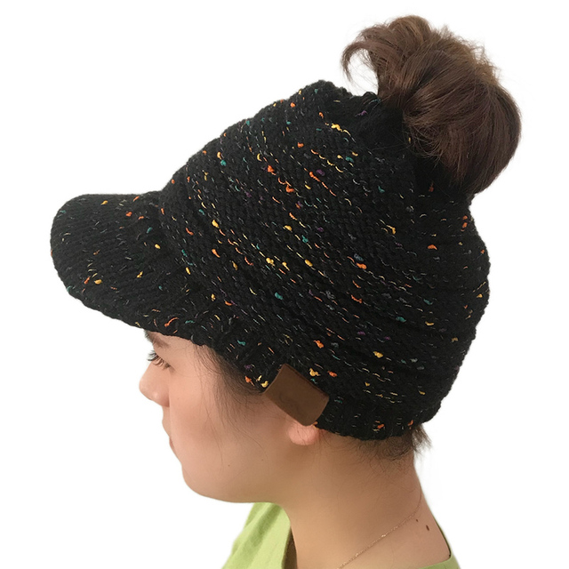 3340b42f579be 2018 Ponytail Beanie Hat Visor Baseball Caps Messy Bun Women Hats Winter  Warm Knitted Cap Holey