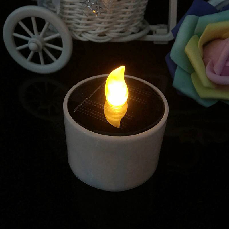 Solar Powered Electronic Led Candle Light Lamp Cylindrical Yellow Light Wedding Party Bar Home Decor Romantic Lighting