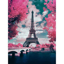 DIY PBN Paris Tower Arcylic Painting By Numbers On Canvas Framed Wall Pictures Art For Living Room Home Decoration(China)