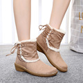 Plus Size Eua 6-11 Mulheres 2016 Botas de Neve Quente do Inverno da Pele Bundinha tornozelo Plataforma de Camurça Cunha Calcanhar Sapatos Mulher Botas Zapatos Mujer