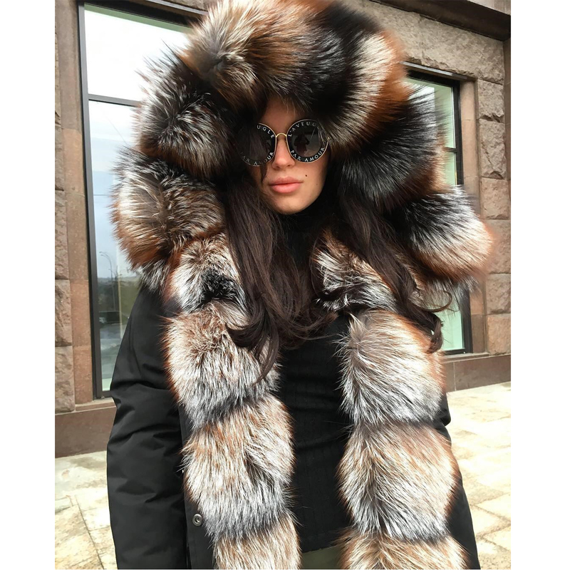 CKMORLS New Real Fur Parka For Women Winter Jacket With Natural Fox Fur Collar Balck Outwear Thick Warm Coats 80CM Long Jackets in Real Fur from Women 39 s Clothing