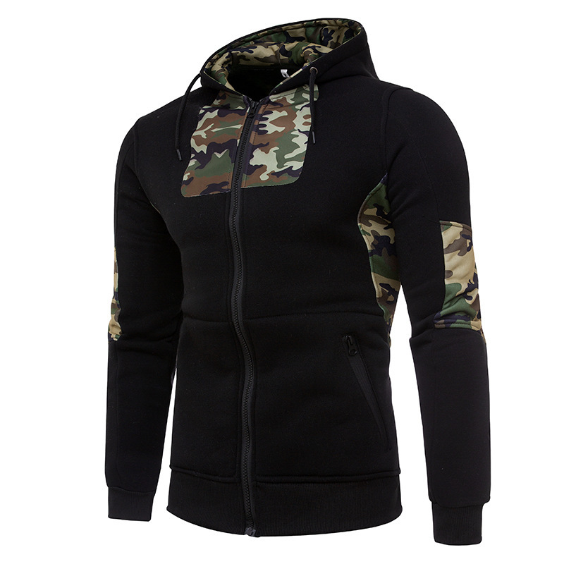 Mens hoodies cotton fashion hoodie hoody men casual hoodies stitching camouflage mens hooded jackets cardigan zipper jacket