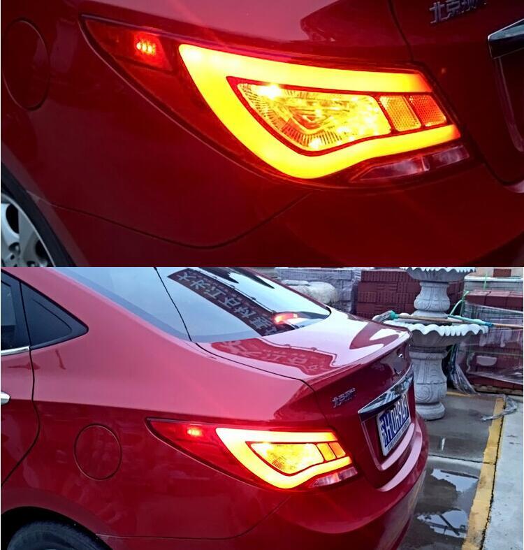 2pcs Rear LED Lights Tail Lamp Assembly Kit Upgrade For Hyundai Accent Solaris Verna sedan 11-14 accent verna solaris for hyundai led tail lamp 2011 2013 year red color yz