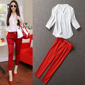 Brief Summer Fashion OL Twinset Solid White Tops Red Butt-lifting Ankle -length Red Capris Suit V-neck Pencil Pants Slim Set