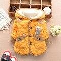2017 nuevo estilo de invierno gruesa de algodón bebé niño niños lindo oso de dibujos animados de algodón chaqueta cardigan abrigos parkas