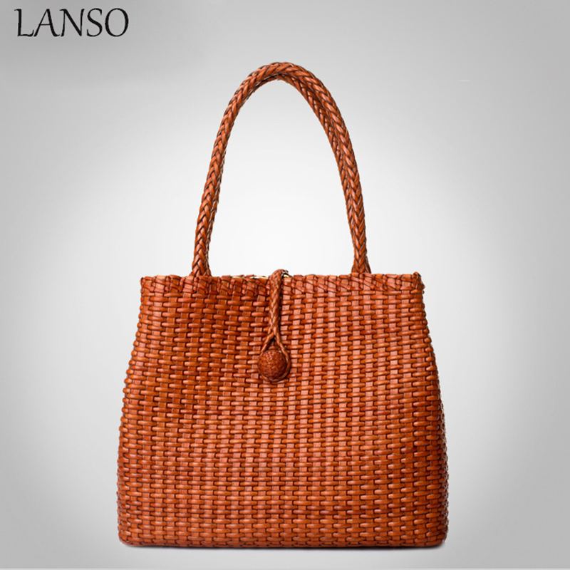 цены  2016 Real Single Woven Genuine Leather Handbag Ladies Beach Bag For Summer Holiday Women's Shoulder Top Quality Larger Size
