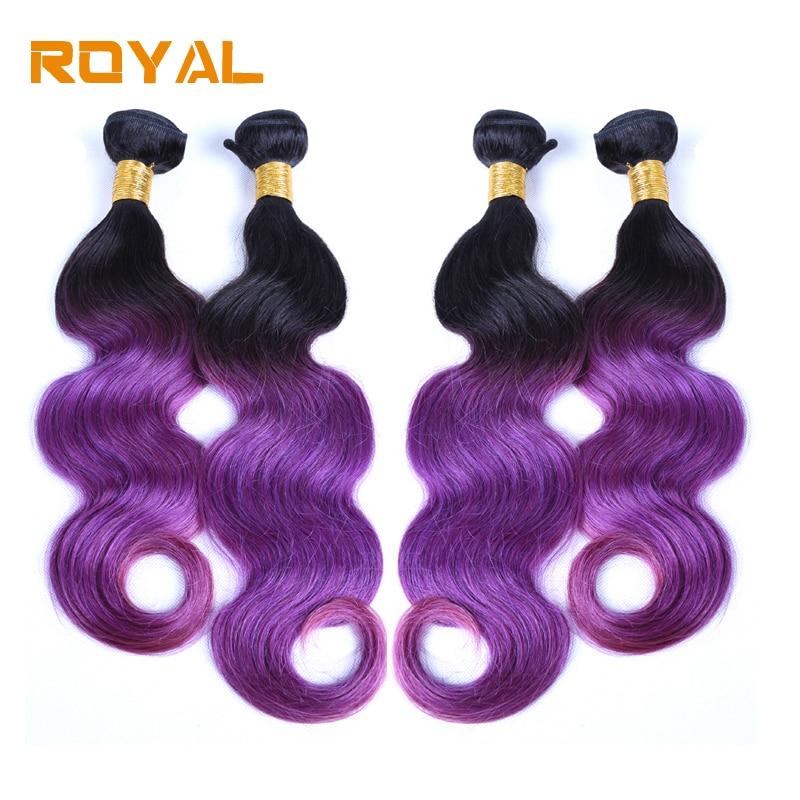 Pre-colored Ombre Peruvian Body Hair 4 Bundles 1B/PURPLE Non Remy Royal Human Hair Wave  ...