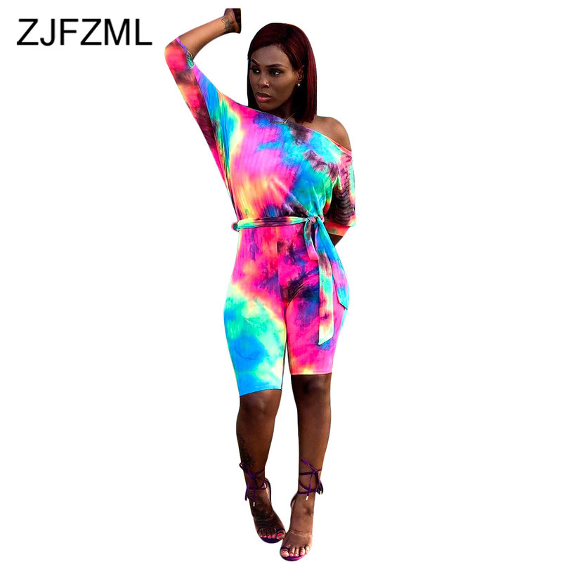 Rainbow Tie Dye Sexy Skinny Jumpsuits Women Slash Neck Long Sleeve One Piece Overall Summer Off Shoulder Backless Beach Playsuit
