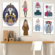 Costume Deer Animal Abstract Wall Picture Art Posters and Prints Vintage Scroll Artwork Canvas Painting Nordic Decoration Home