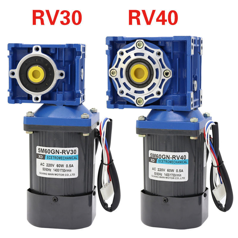 AC220v 60W NMRV30 worm gear motor, forward and reverse, suitable for mechanical equipment, power tools, conveyors, DIY, etc. dc12v 24v 90w 5d90gn permanent magnet gear motor with adjustable speed suitable for mechanical equipment power tools diy etc