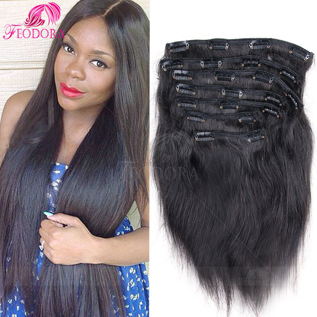 Sale Remy Virgin Brazilian Hair Clip In Extensions Straight Clip In