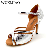 WUXIJIAO 2018 New Women Snake texture PU Silver Shoes For Dance Shoes Ladies Latin Ballroom Salsa Dance Shoes Sandals