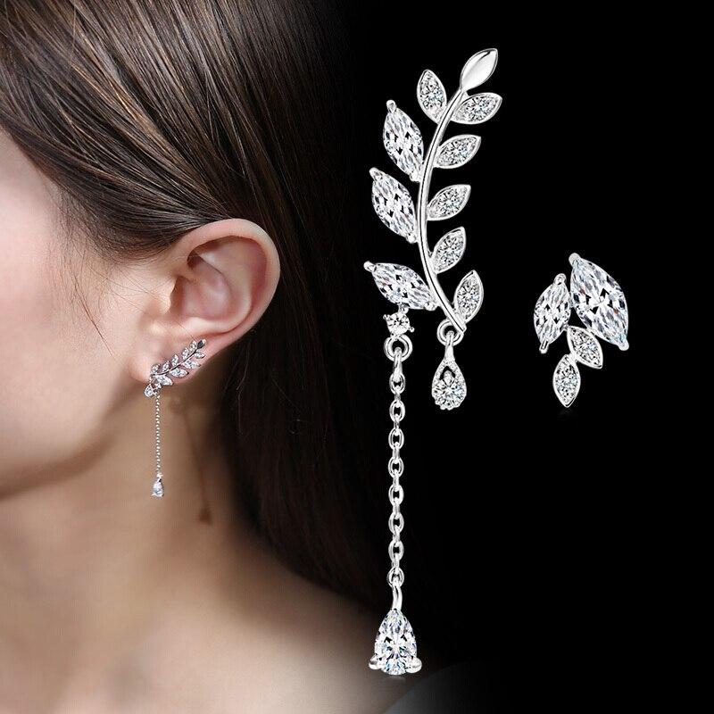 KASIYU s925 silver asymmetrical branch temperament Korean personality tassel earrings long earrings pendant