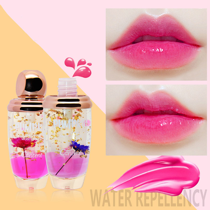 NOVO Brand Lip Makeup Lip Gloss Transparent Temperature Color Changing Flower Liquid Lipstick Moisturizer Lipgloss Beauty Makeup 3