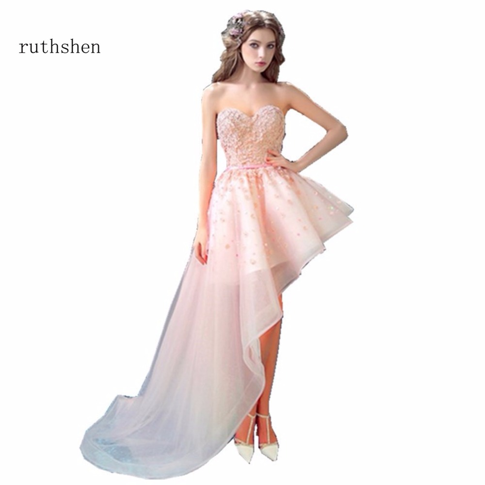 ruthshen   Prom     Dresses   High Low Party   Dresses   Sleeveless Arabic Dubai Short Front Long Back Vestidos Para Festa Curto   Prom   Gowns