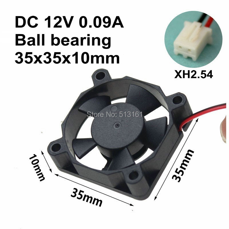 5Pcs Gdstime Mini 35mm 35x35x10mm Ball Bearing 0.09A 2 Pin 12V DC Cooling Fan