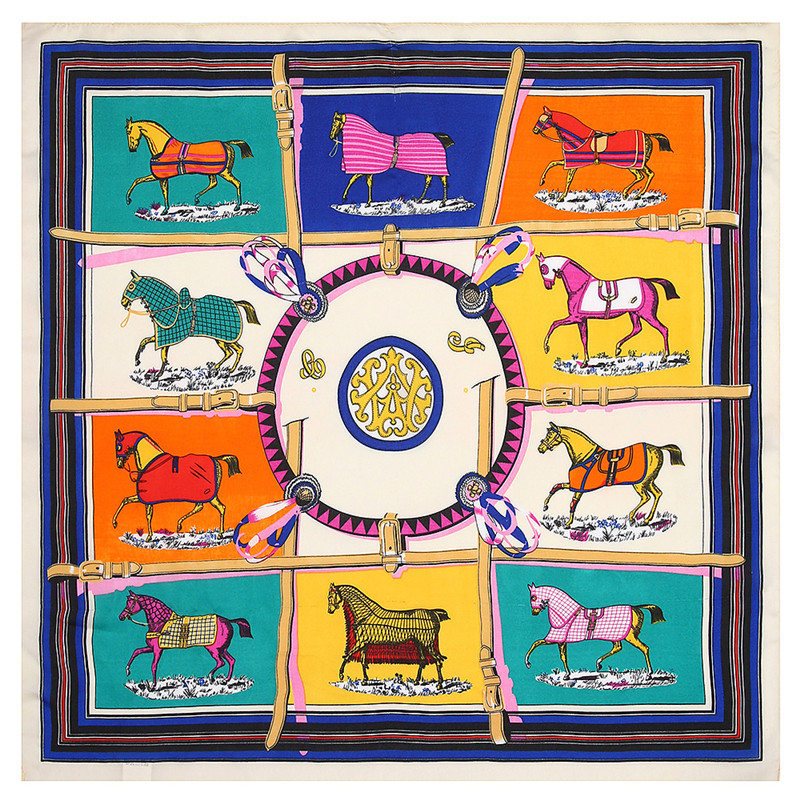 POBING 100% Silk   Scarf   Woman Ten Horse Circle Print Square   Scarves   Luxury Bandana Small Hijab Foulards Lady Tie Headband 53x53CM