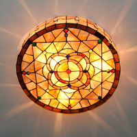 18 Inch Tiffany Stained Glass Flush Mount Lighting Fixture E26 E27 Indoor Shell Lampshade Ceiling Light