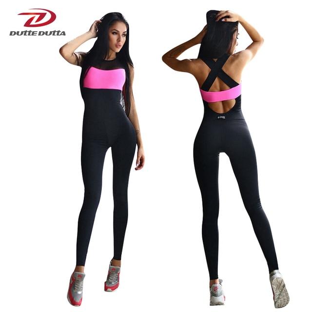 1759554eb Mulheres Esporte Terno Treino de Fitness Yoga Set Backless Ginásio Correndo  Conjunto Sportswear Leggings Apertadas Macacões