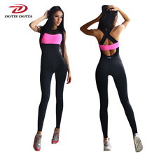 Fitness Sport Suit Women Tracksuit Yoga Set Backless Gym Running Set Sportswear Leggings Tight Jumpsuits Workout Sports Clothing(China)
