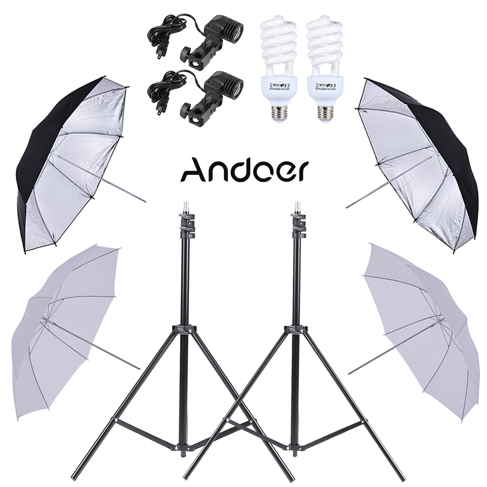 Andoer Photo Studio Umbrella Lighting Kit w 2m Light Stands 45W 5500K Photo Lamp Bulb 83cm