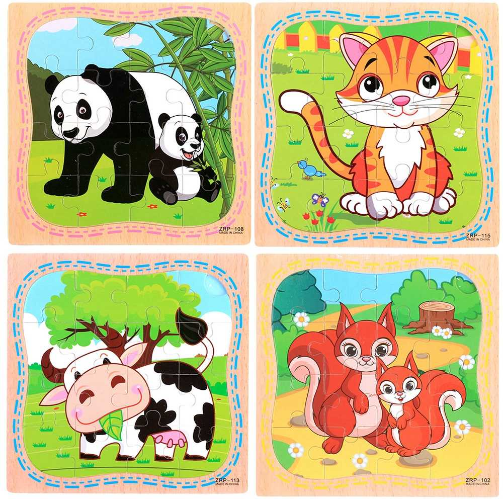 9/24 ломтик маленькая развивающая головоломка, игрушка для детей животные и автомобиль поезд деревянные головоломки детские развивающие игрушки для малышей