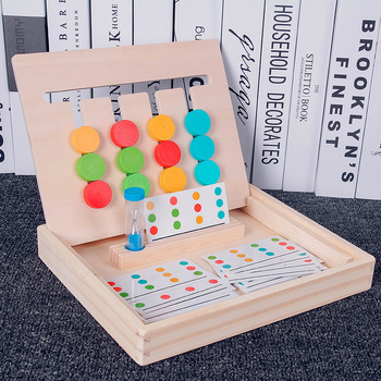 Montessori Education Wooden Toys early learning toys Four Color Game children games toys Preschool Training Learning Toys flyingtown montessori teaching aids balance scale baby balance game early education wooden puzzle children toys