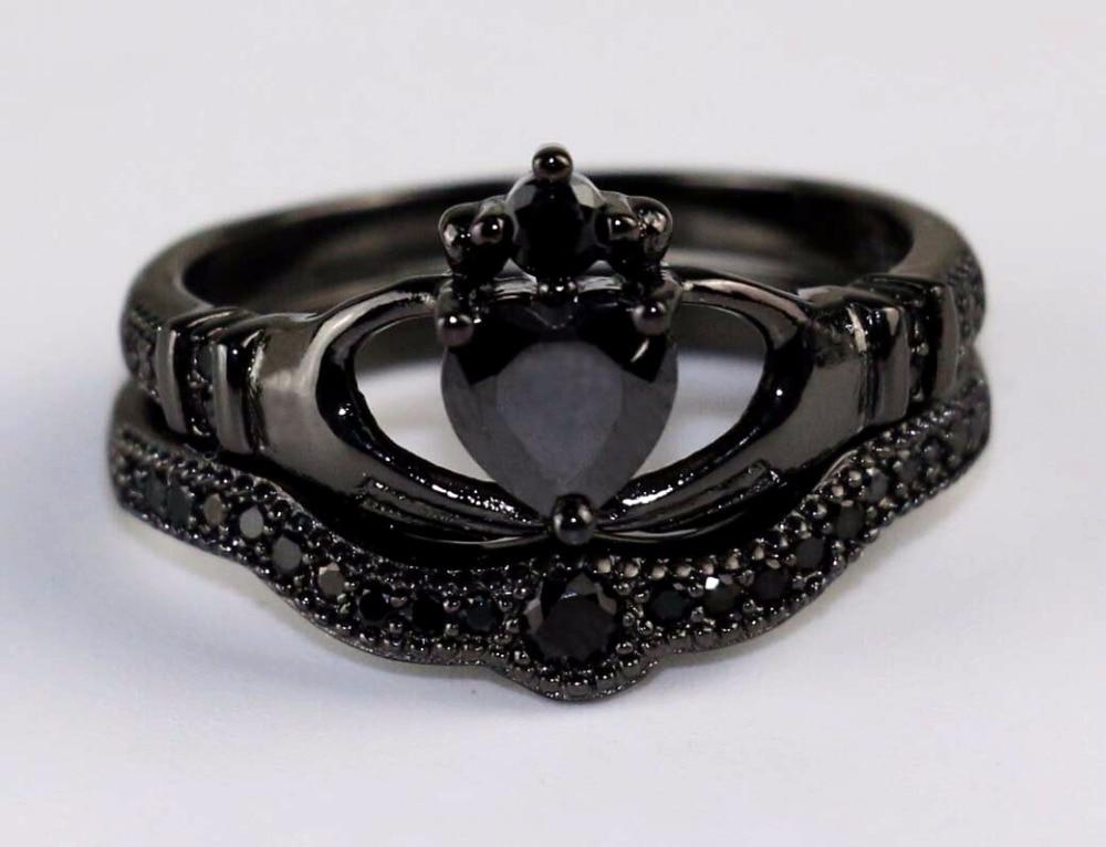Irish Claddagh Ring Black Gold Heart Black Zircon Wedding