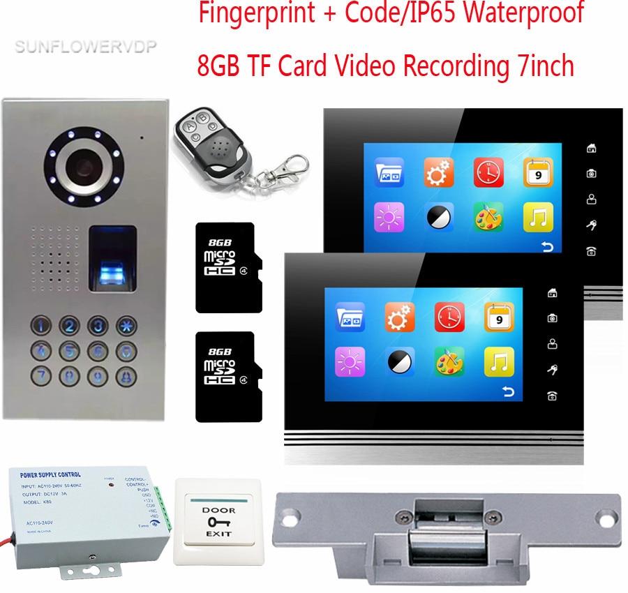 Fingerprint Video Intercom For A Private House 2 Monitors 8GB TF Card Recording Doorphone Intercom IP65 Waterproof Code + Lock private l a
