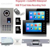 Fingerprint Video Intercom For A Private House 2 Monitors 8GB TF Card Recording Doorphone Intercom IP65